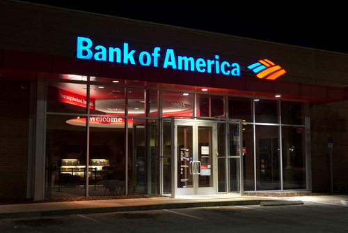 A Bank of America Branch Bank at Night
