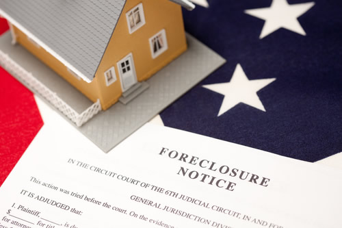 A Foreclosure Notice on USA Flag