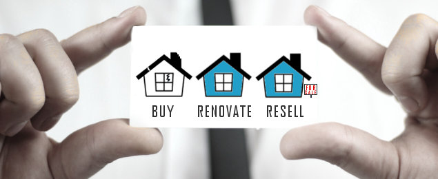 Drawing of Three Houses Where it Reads Buy Renovate and Resell