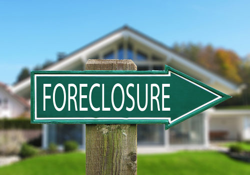 Foreclosure Sign Against House