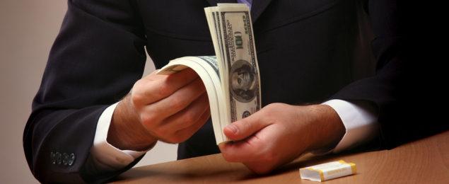 Lender with Money in Hands