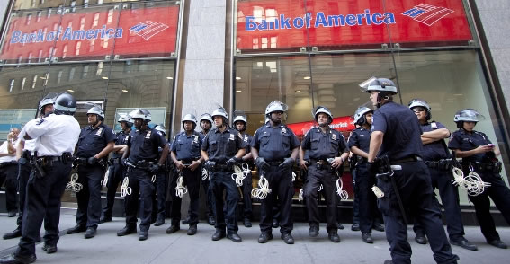 Police Men in Front of a Bank of America Branch