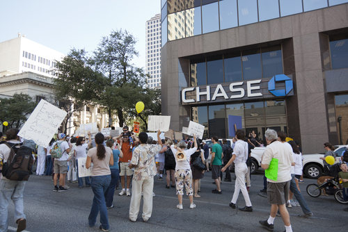 Protesters Outside the Chase Bank Tower