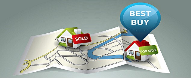 Real Estate Map Showing Best Buy Option