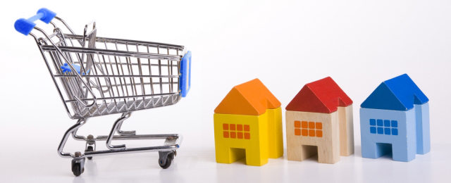 Shopping Cart and Three Miniatures of House
