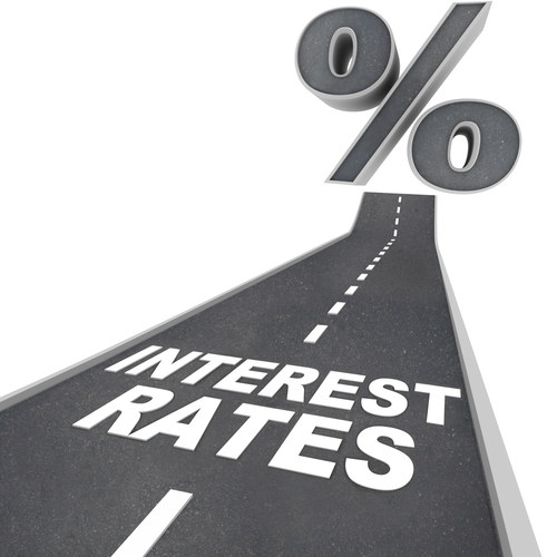 The Words Interest Rates on a Road and Percent Sign